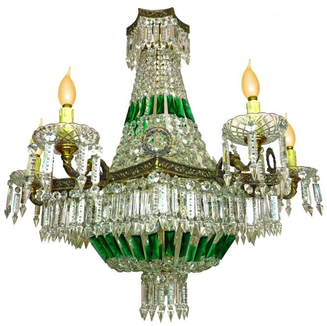 Impressive French Empire Green Crystal Basket And Bronze Chandelier 15 Light For