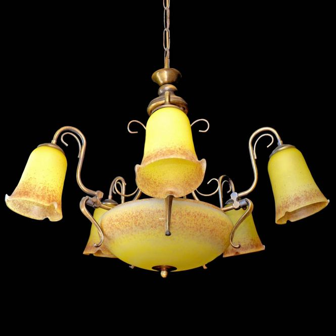 Antique French Degué Style Art Deco Nouveau Yellow Glass Chandelier 3