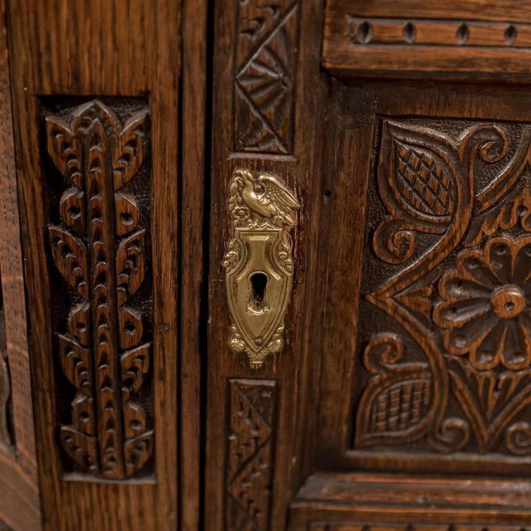 Oak Carved Corner Cabinet Wall Cupboard English Victorian