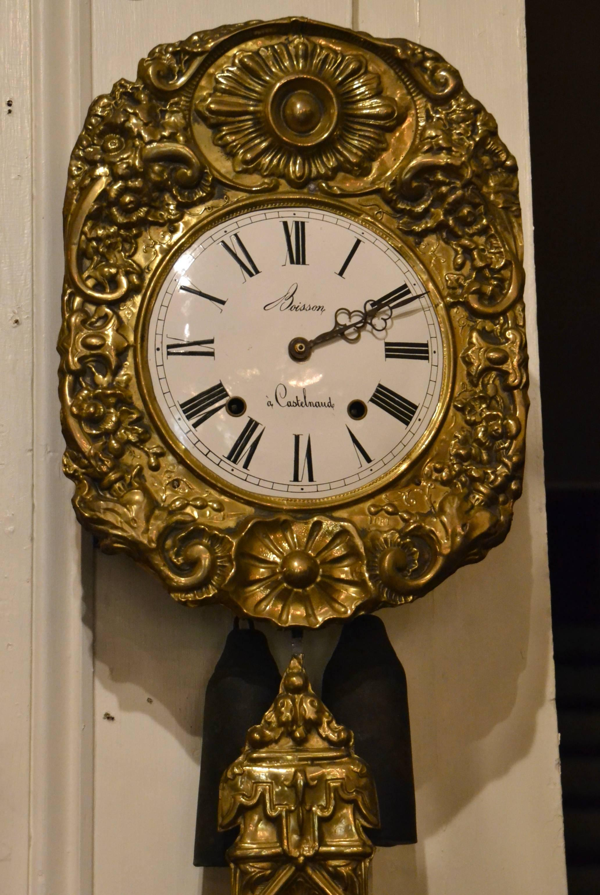 Antique 19th Century Brass Wag On The Wall Clock For Sale At 1stdibs