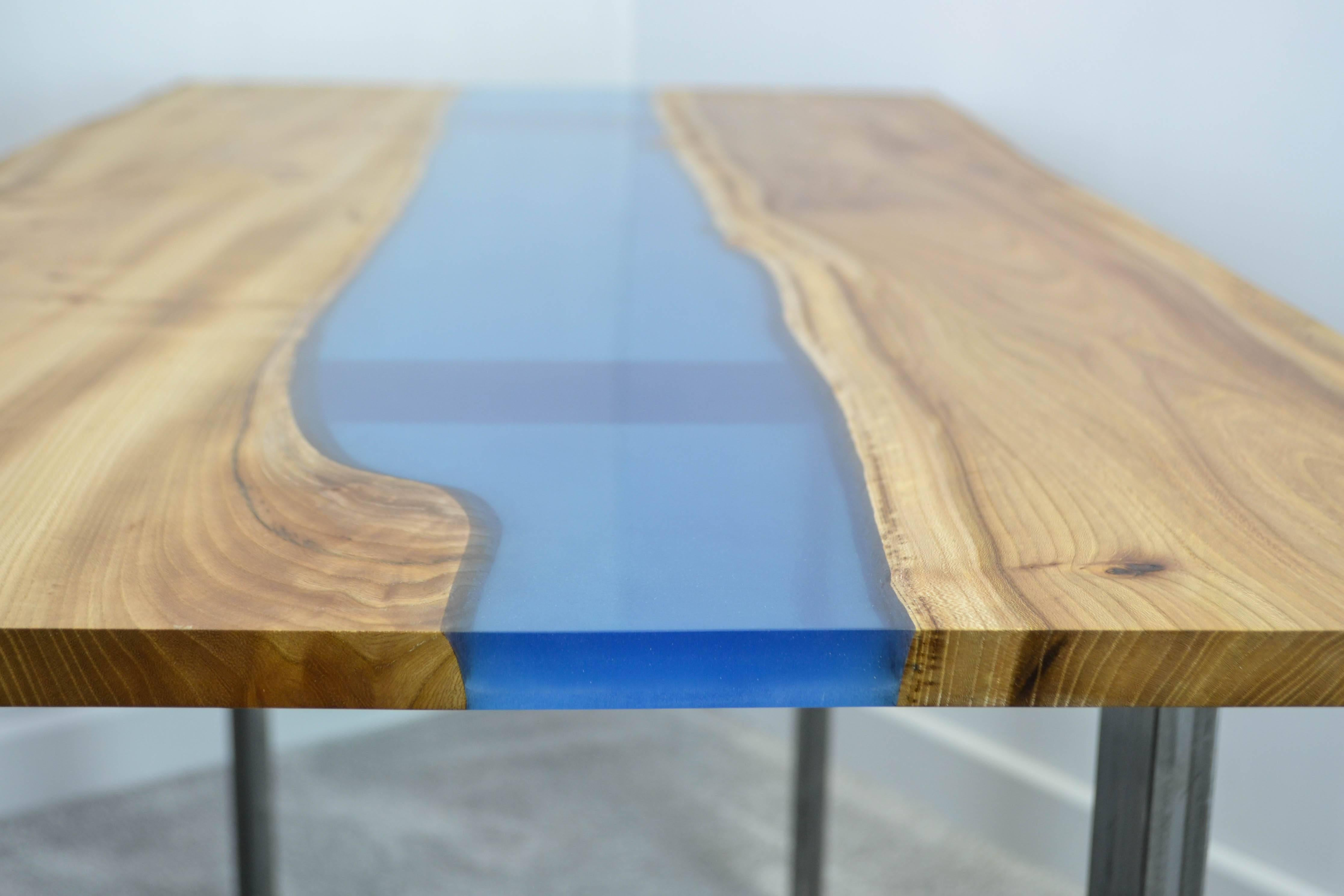 Organic Modern Natural Live Edge Resin River Dining Table