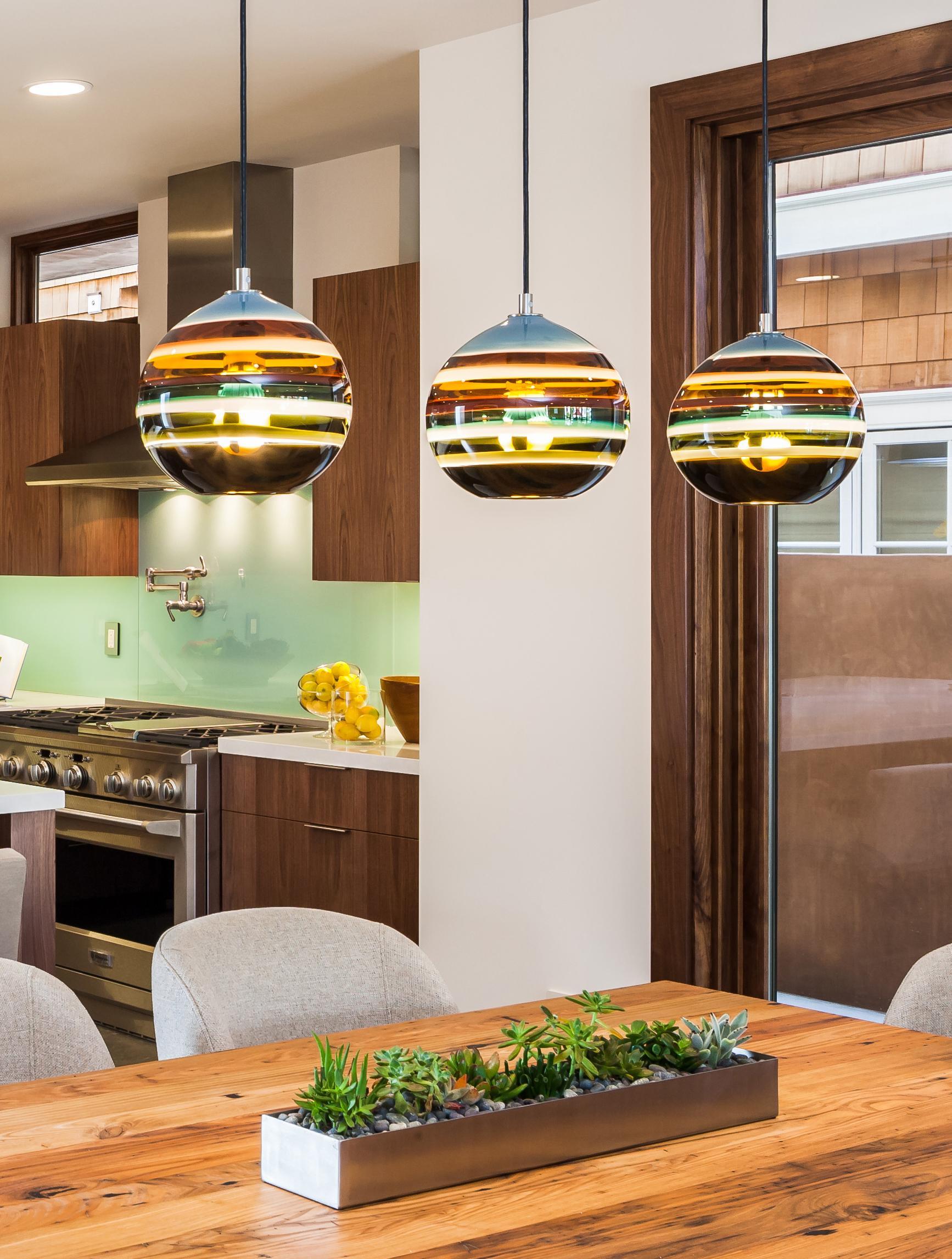 modern kitchen island lighting borrego banded orb pendant made to order