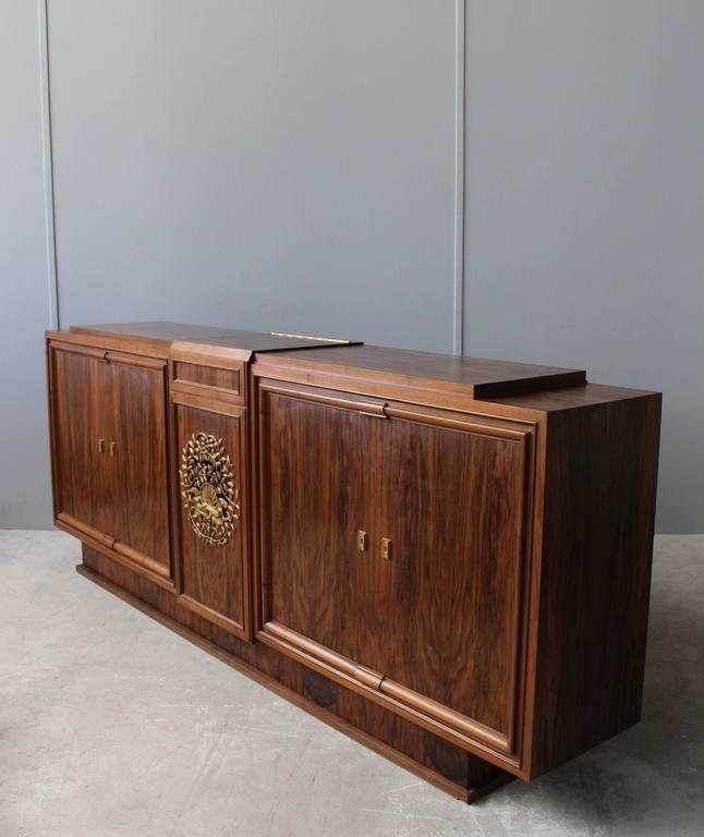 Fine French Art Deco Walnut Music Stereo Cabinet Or