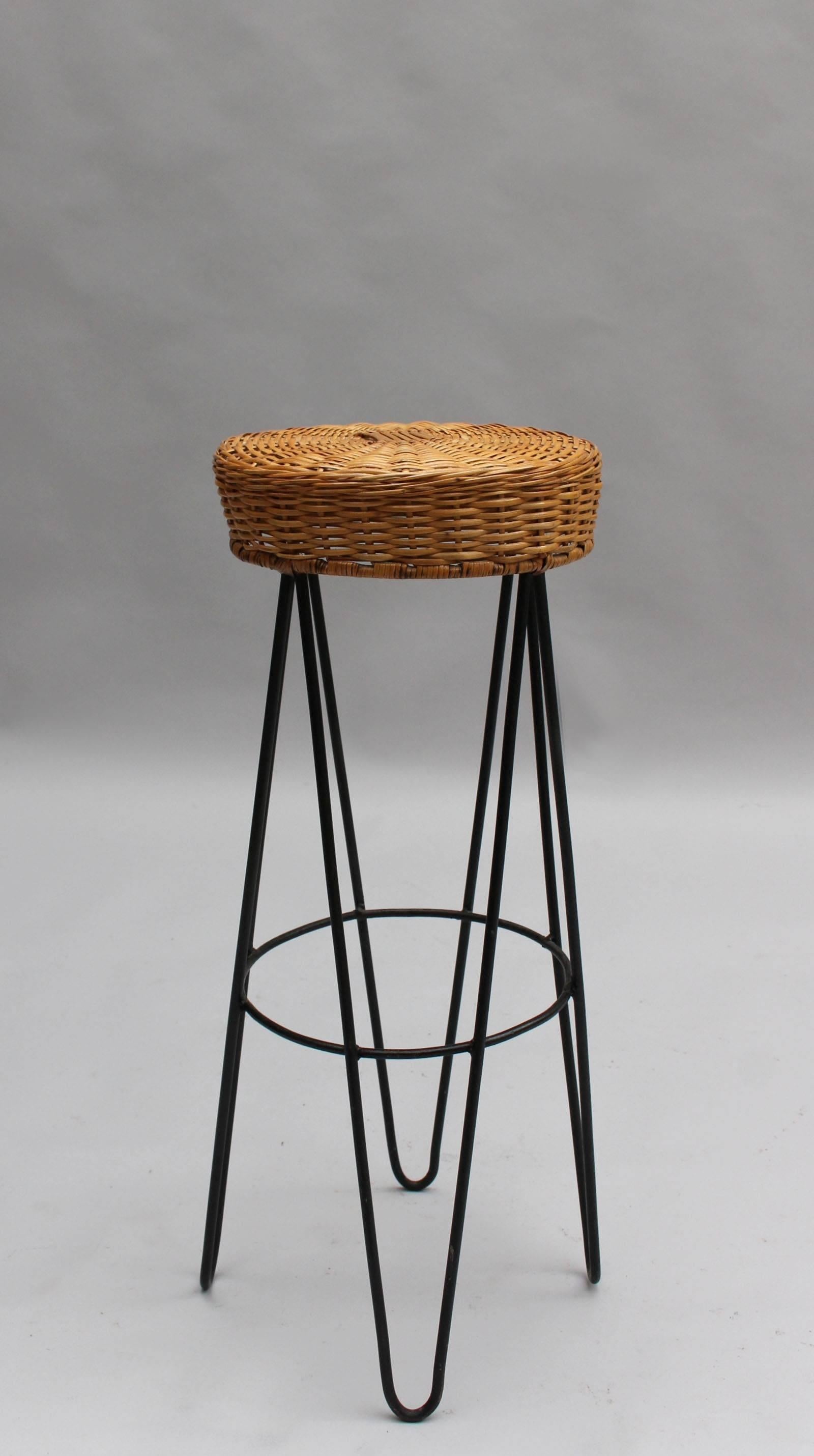 three french black metal and rattan bar stools 1950s for sale 3