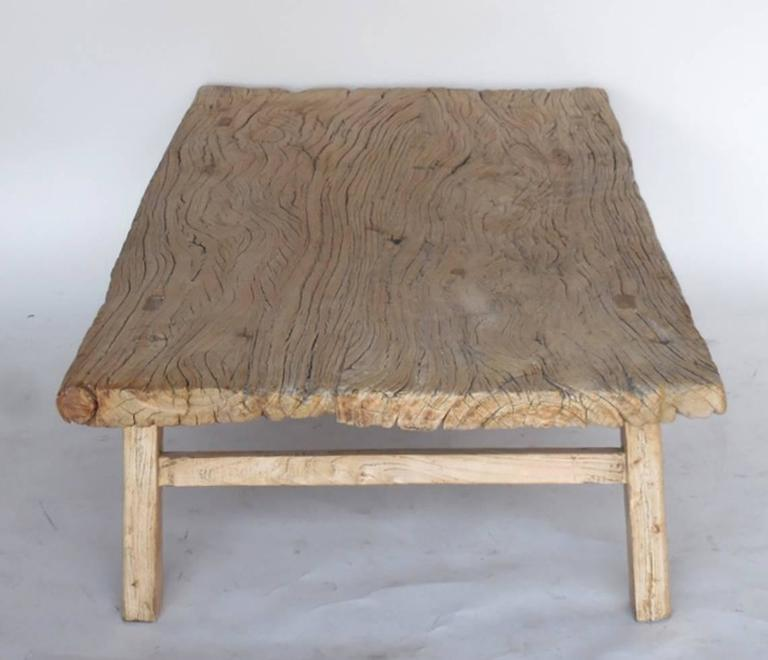 japanese elm wood coffee table with natural driftwood patina