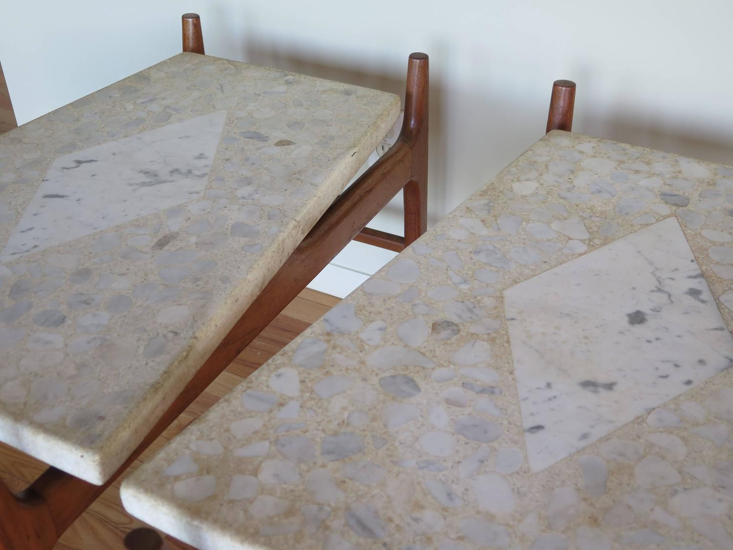Pair Of Harvey Probber Terrazzo Floating Top Tables For