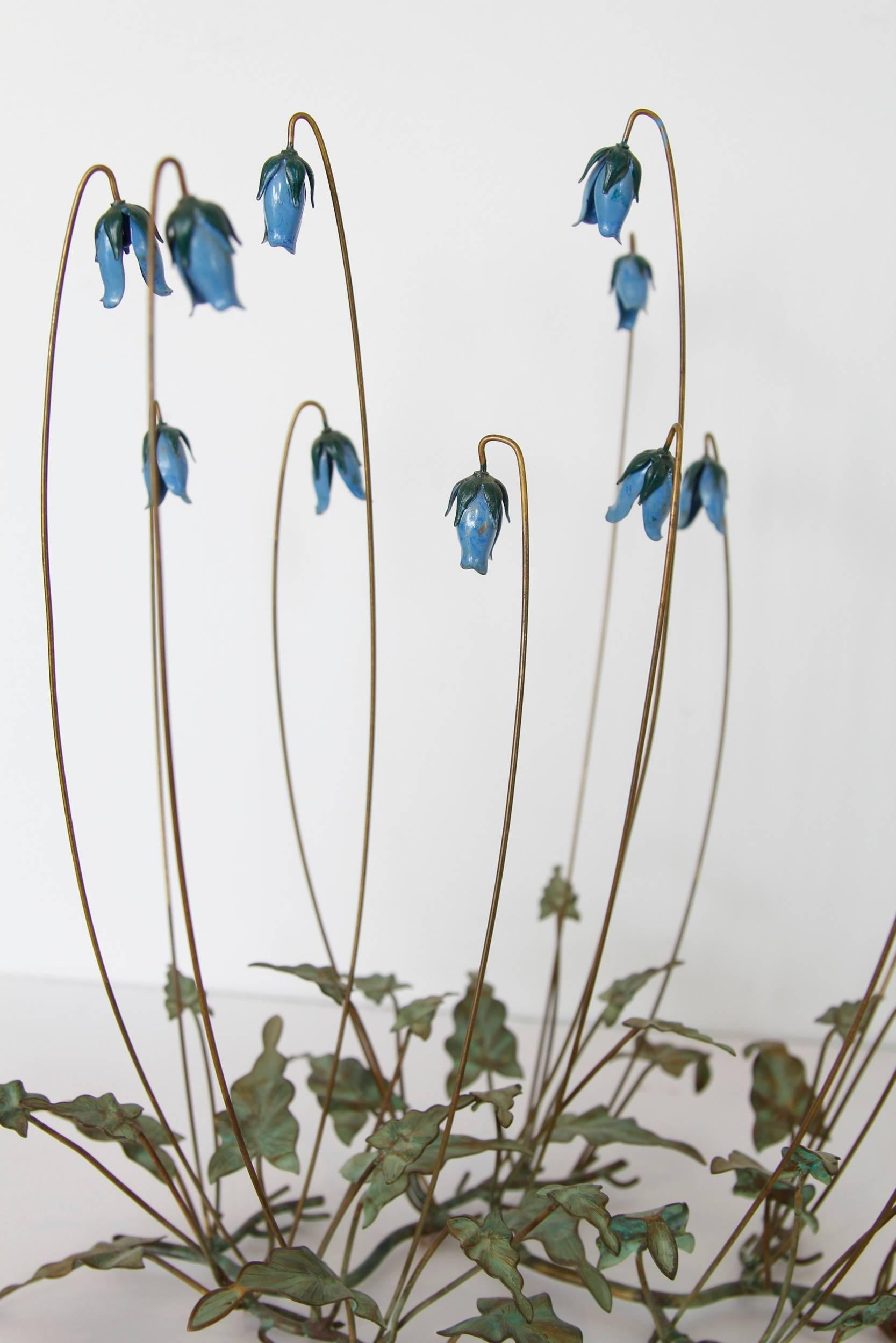 Vintage Enamel And Tole Bluebell Table Sculpture At 1stdibs