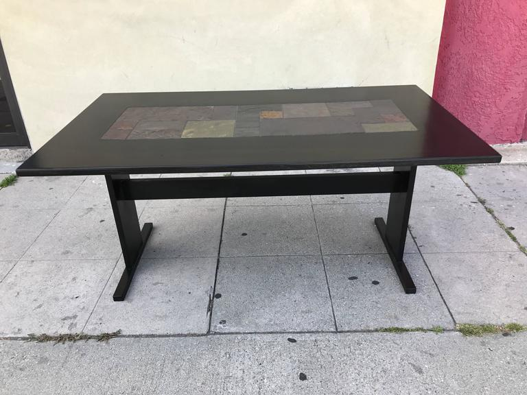 Chic Ebonized Slate Tile Topped Danish Dining Table For