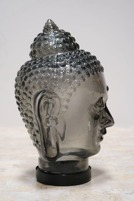 Smoked Glass Buddha Head Sculpture At 1stdibs