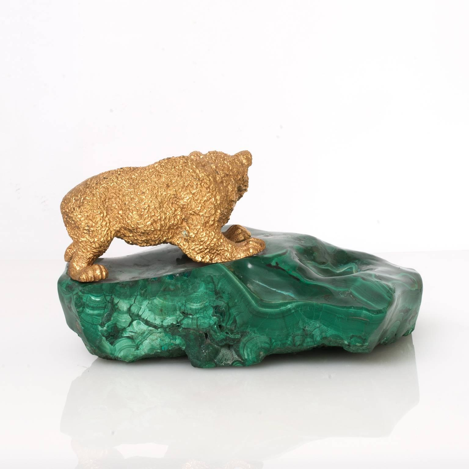 Russian Gilded Bronze Bear Cub Sculpture On A Sold Piece