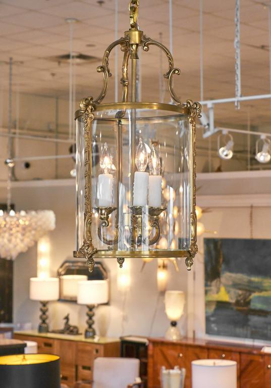 This Lantern Of Brass And Glass Features Three Candelabra Lights Has Been Rewired For The