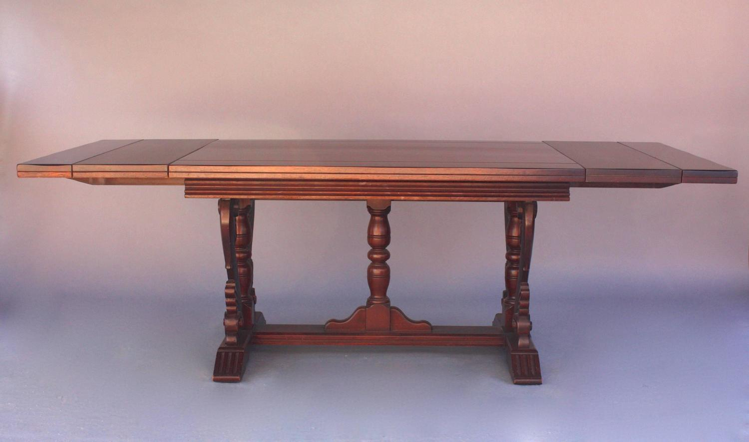 Antique 1920s Walnut Dining Table With Leaves For Sale At