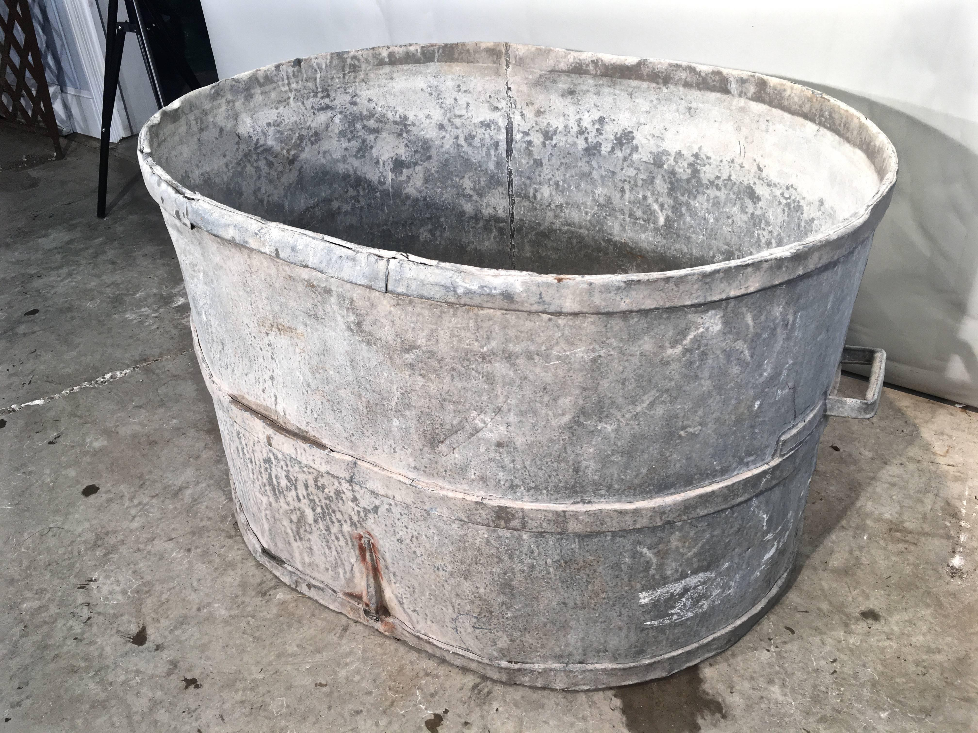 Very Large Oval French Zinc Tub Planter Or Fountain For