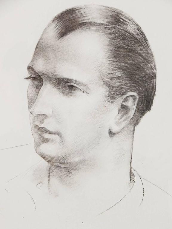 Mans Portrait Three Quarters View Powerful Drawing By