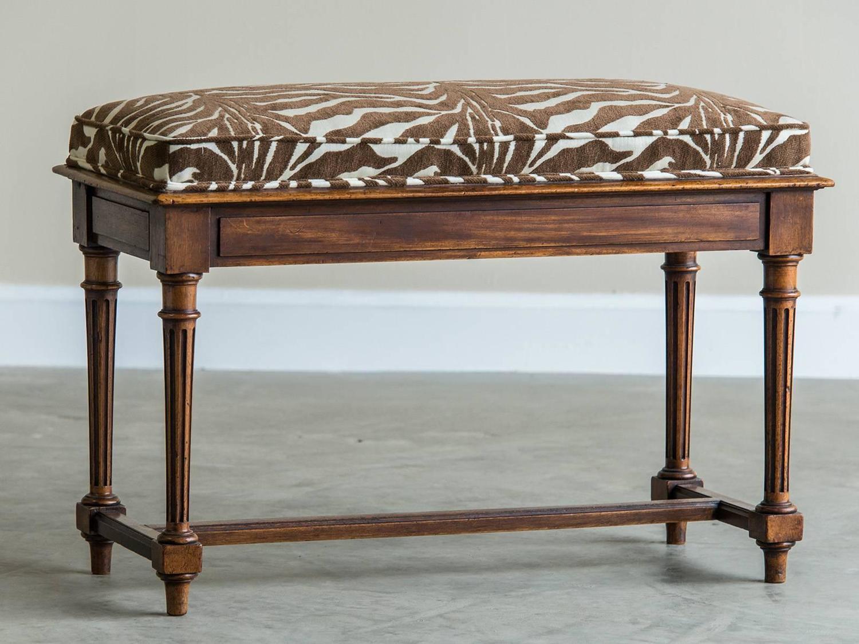 Louis XVI Style Antique French Walnut Bench, Circa 1890