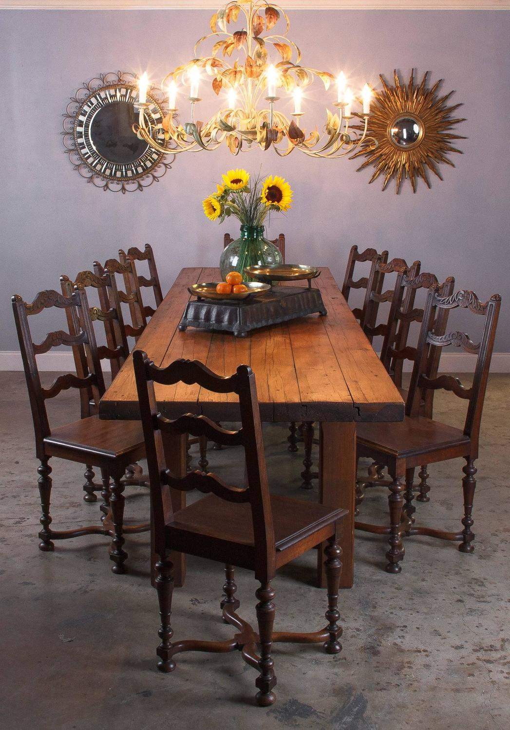 French Country Pine Long Farm Table Early 1900s For Sale