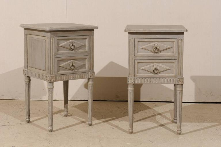 Pair Of Small Sized Two-Drawer Painted Wood Nightstand