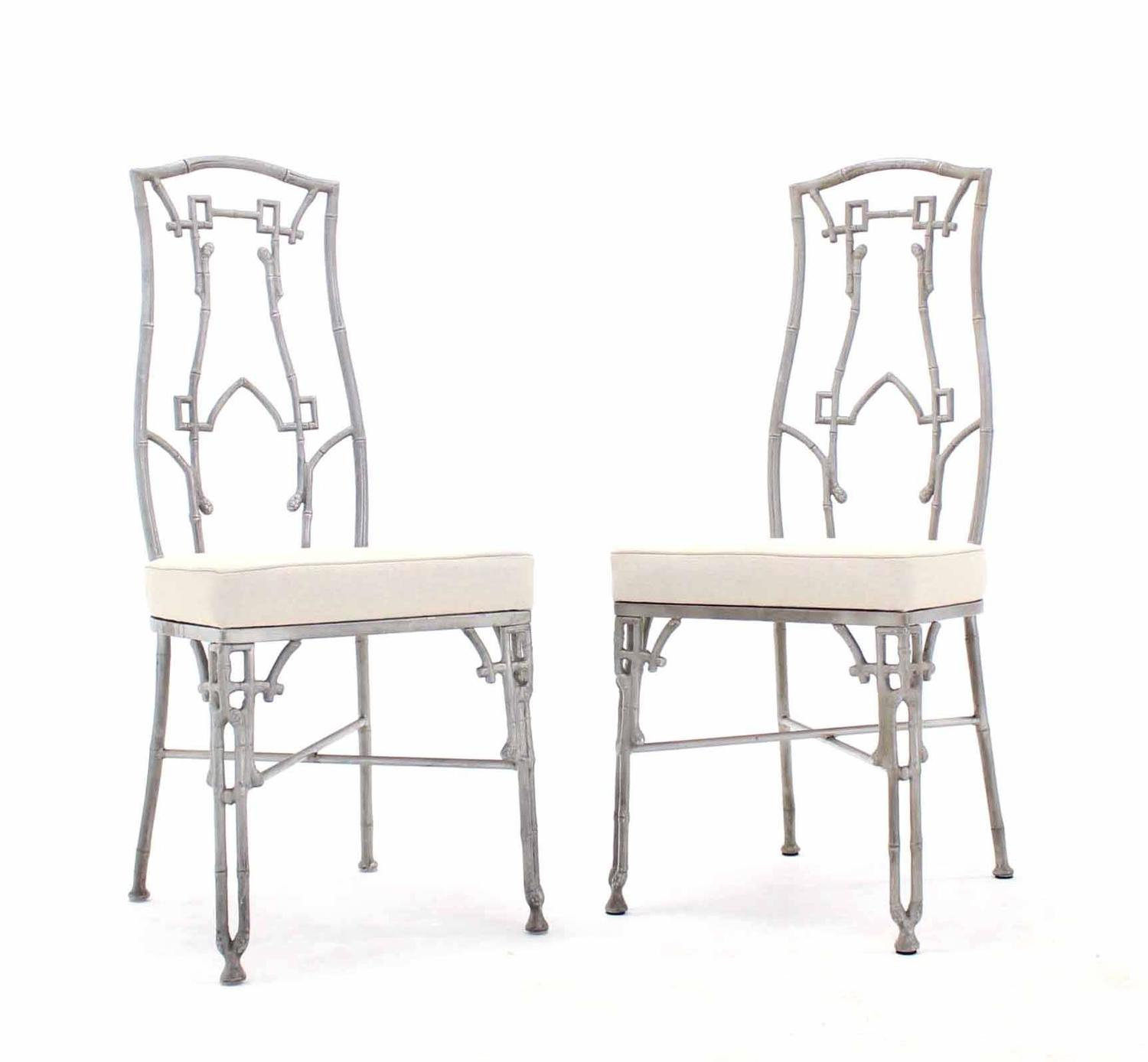 Cast Aluminum Faux Bamboo Mid Century Modern Six Chairs