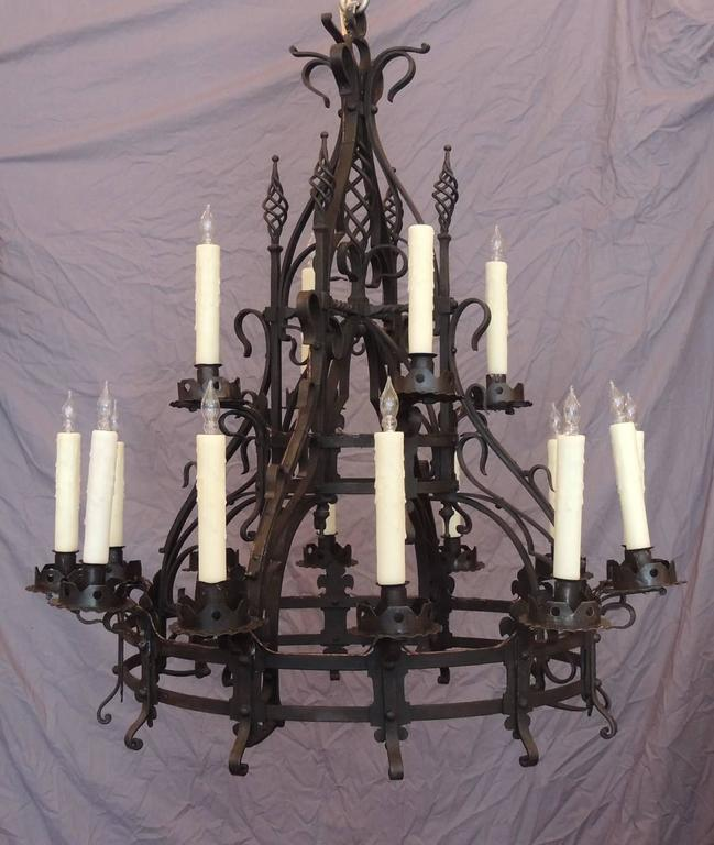 Late 19th C French Gothic Wrought Iron Chandelier 2