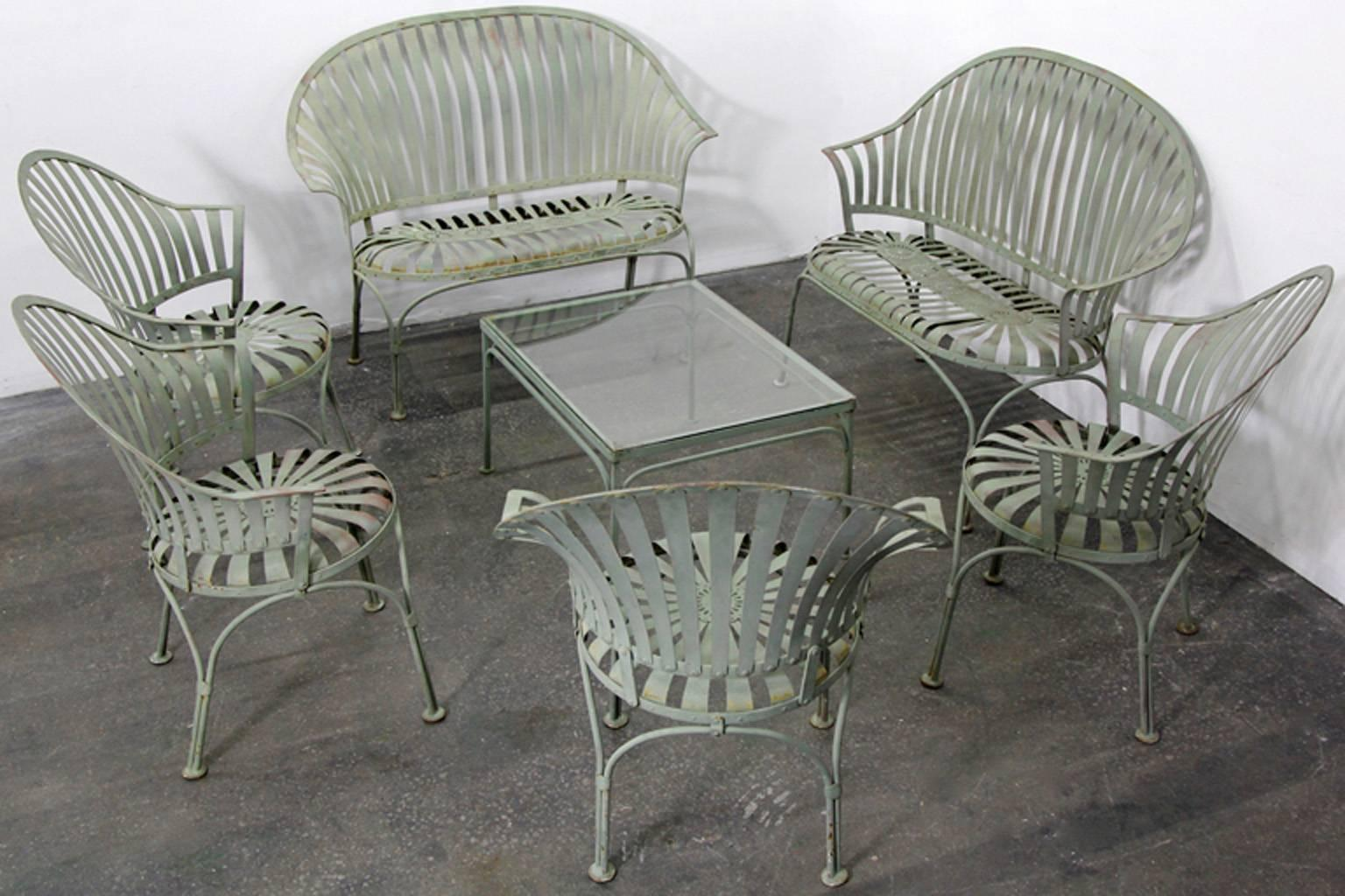 Francois Carre Art Deco Metal Fan Back Patio Set Settee Chairs And Table For Sale At 1stdibs