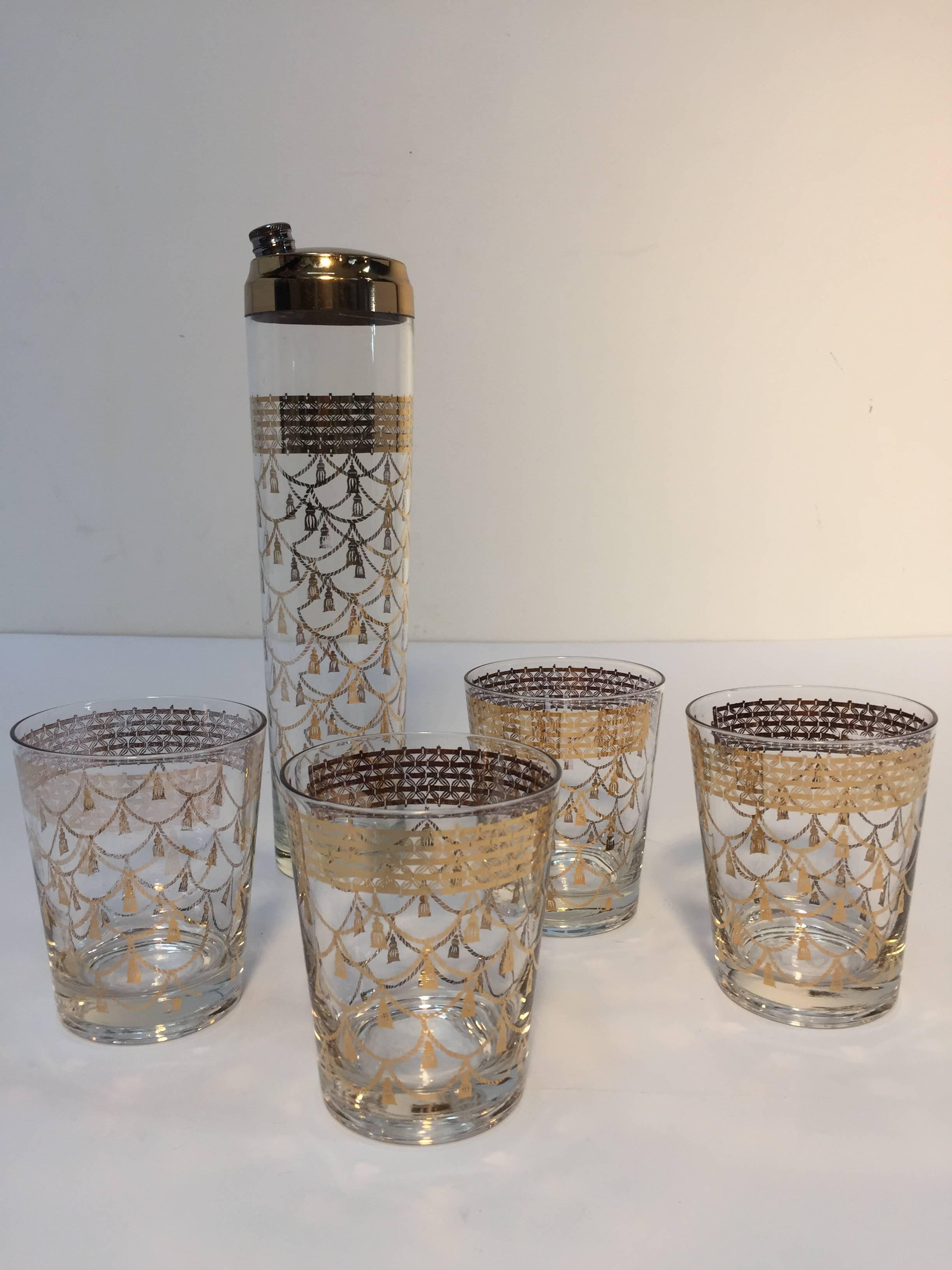 Vintage Cocktail Set Of Midcentury Barware Glasses With