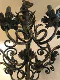 Vintage Italian Black And Gold Iron Tole Chandelier For Sale At 1stdibs