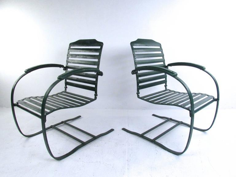 pair of vintage metal spring chairs mid century patio furniture