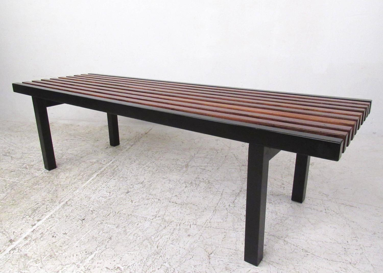 Unique Mid-Century Modern Slat Bench Coffee Table For Sale