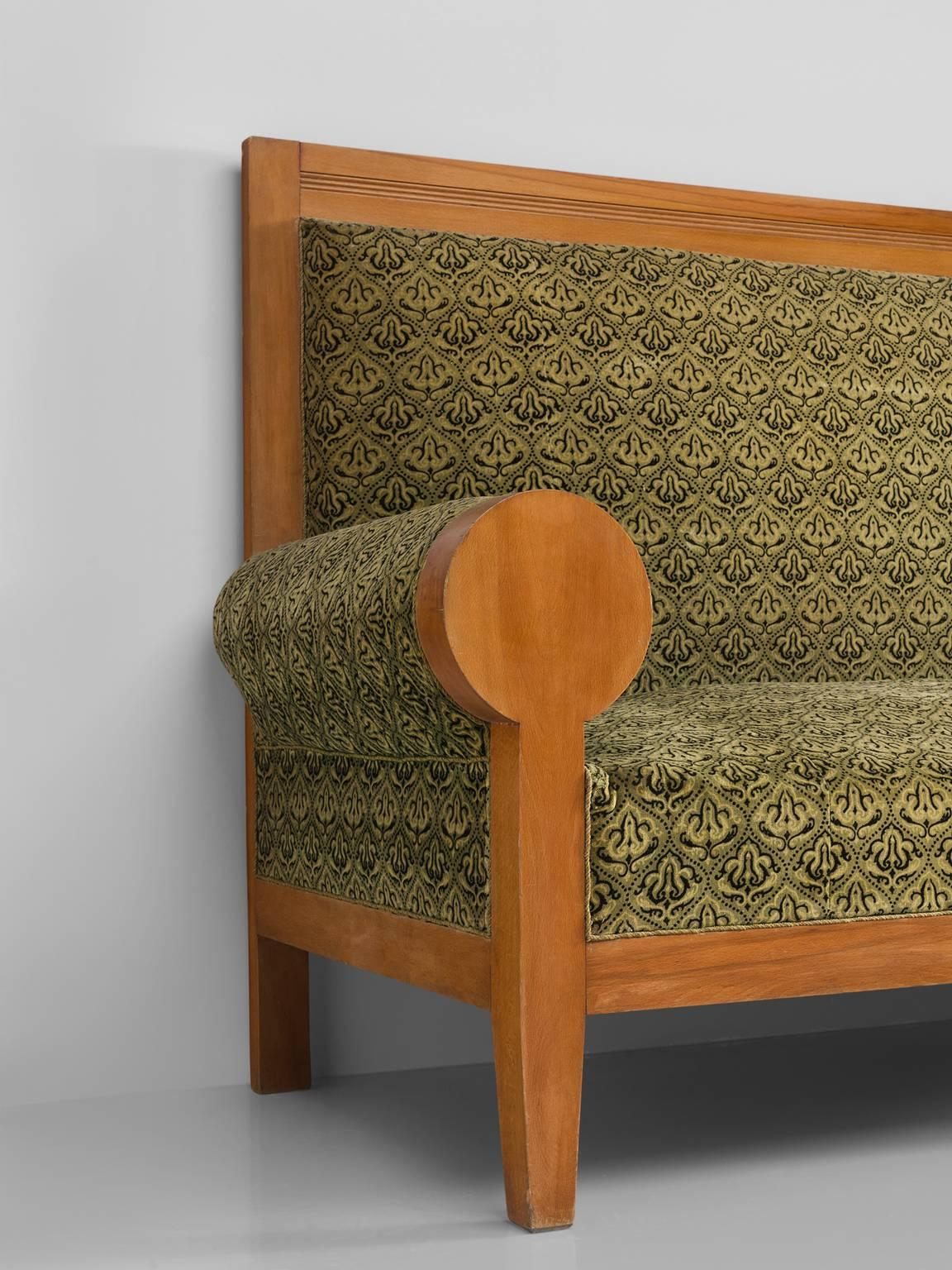 High Back Art Deco Sofa In Green Fabric Upholstery For