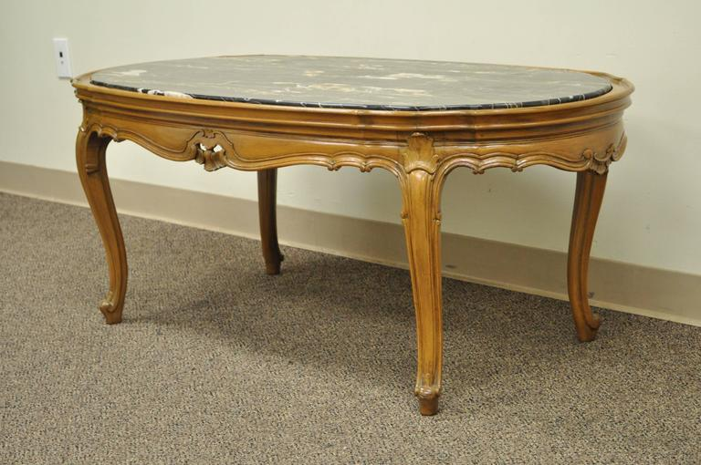 french provincial louis xv country style oval marble top walnut coffee table
