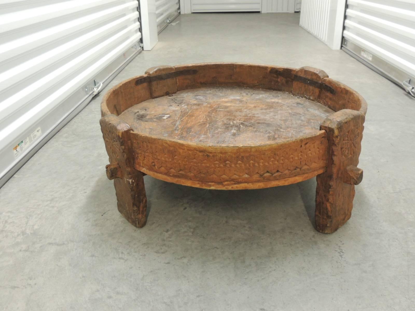 Moroccan Carved Wood Primitive Vintage Coffee Table At 1stdibs