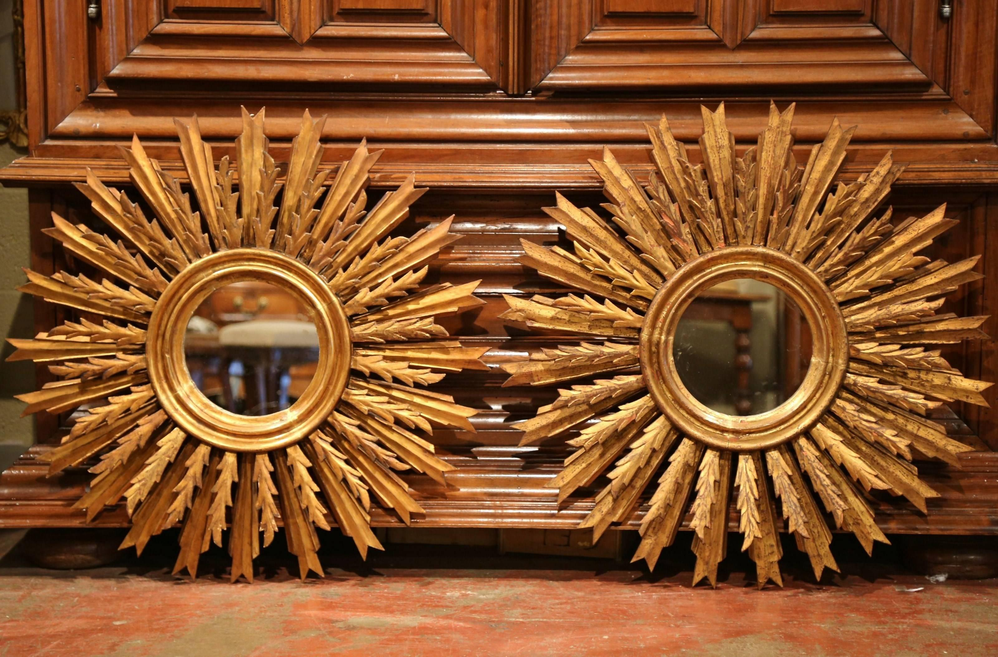 Large Pair Of 19th Century French Gilt Wood Sunburst