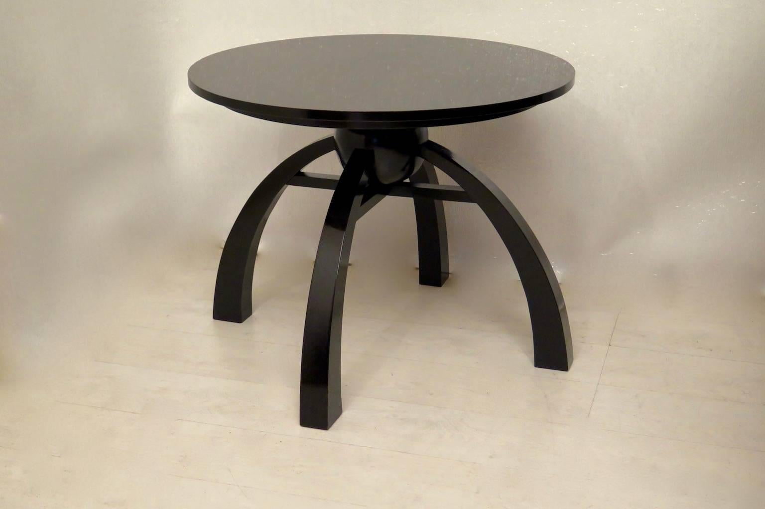 art deco round black shellac italian side table 1930 for sale