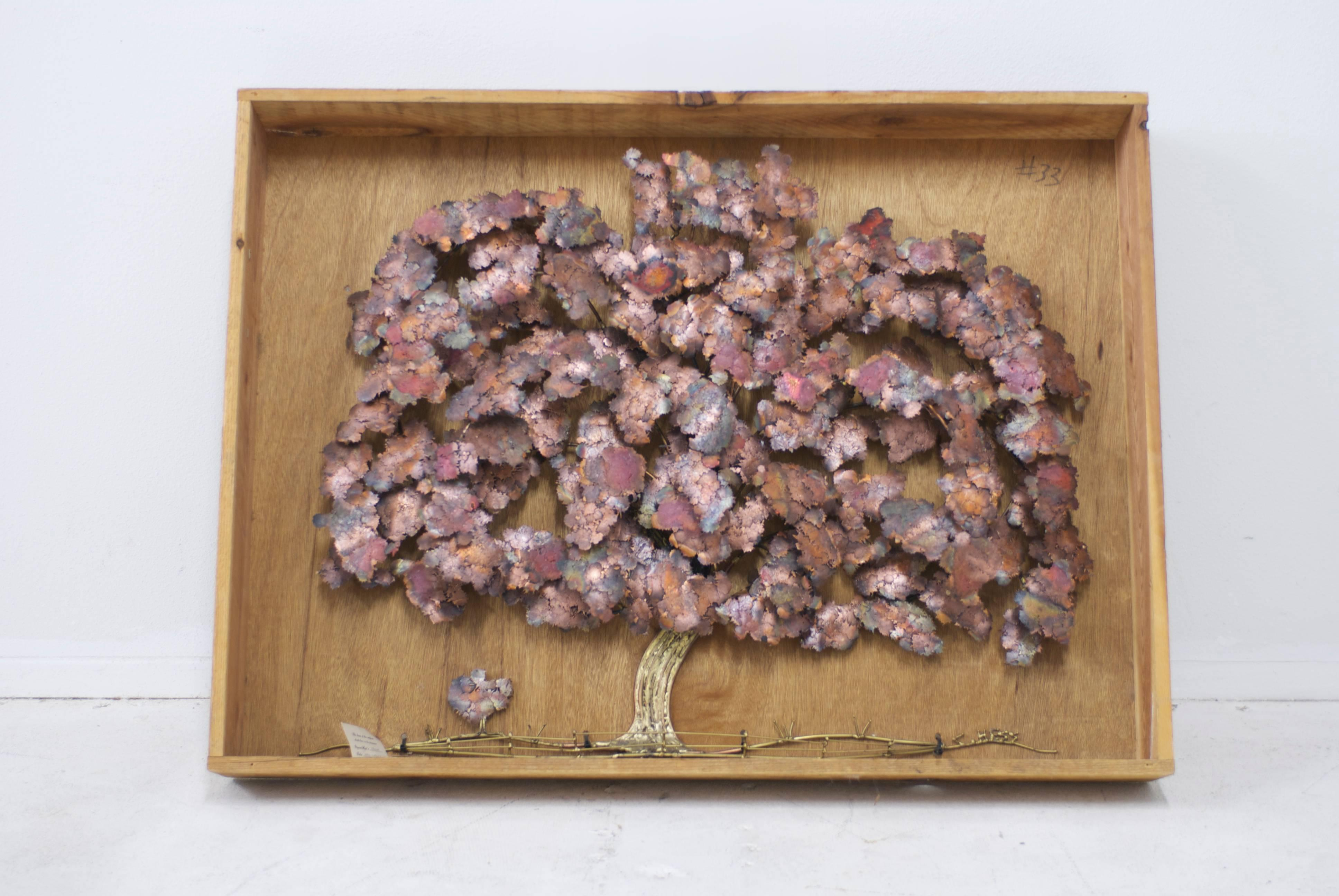 Brass And Copper Tree Wall Sculpture By C. Hess At 1stdibs
