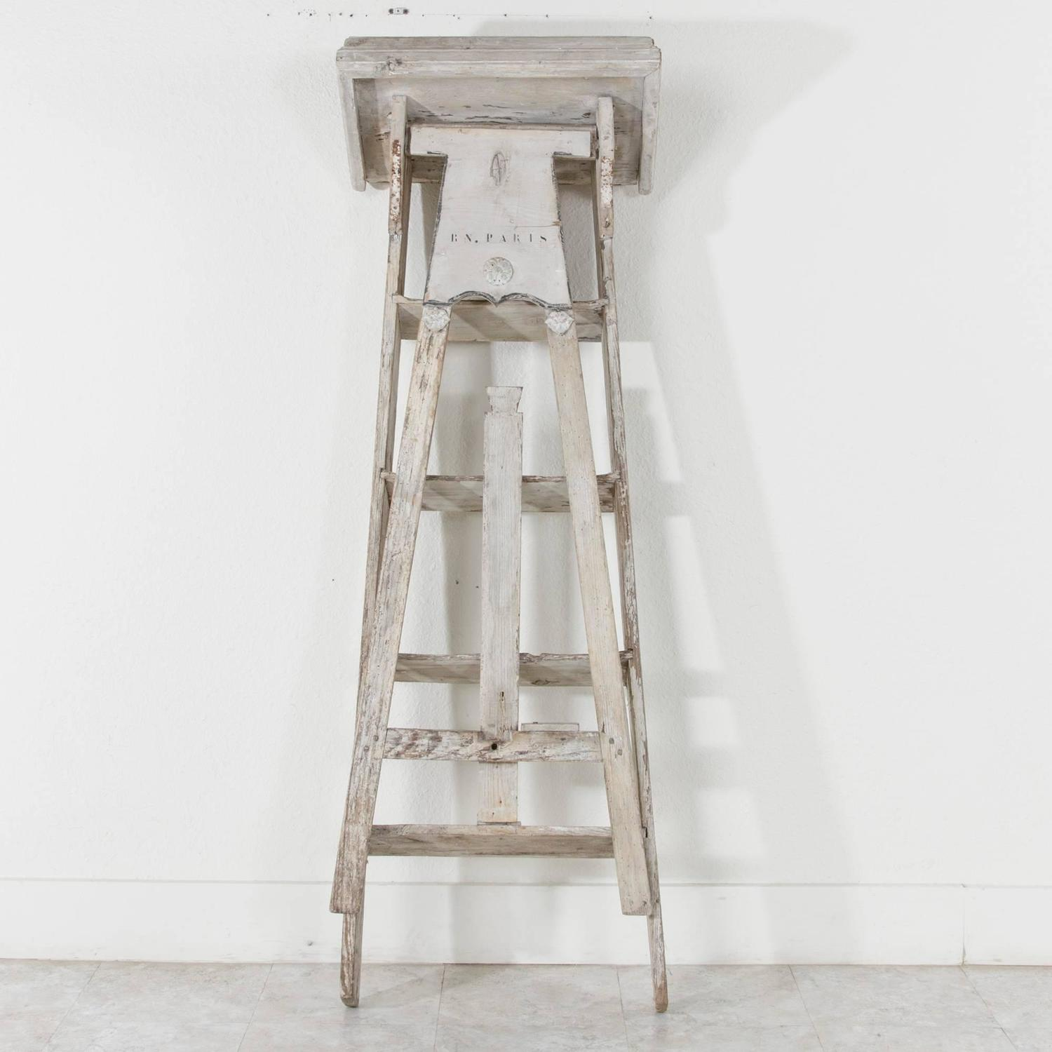 Antique French Painted Library Ladder From The