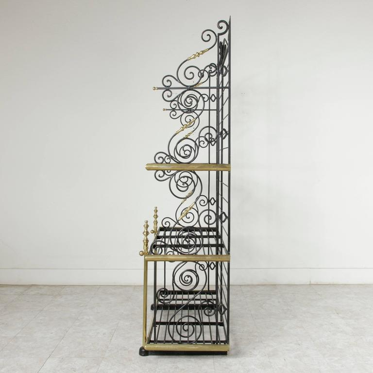 Early 20th Century French Iron And Brass Bakers Rack