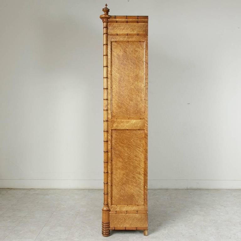 Early 20th Century Cherry And BirdS Eye Maple Faux Bamboo