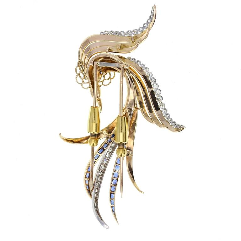 1930s Sapphire Diamond Gold Bird Of Paradise Brooch For