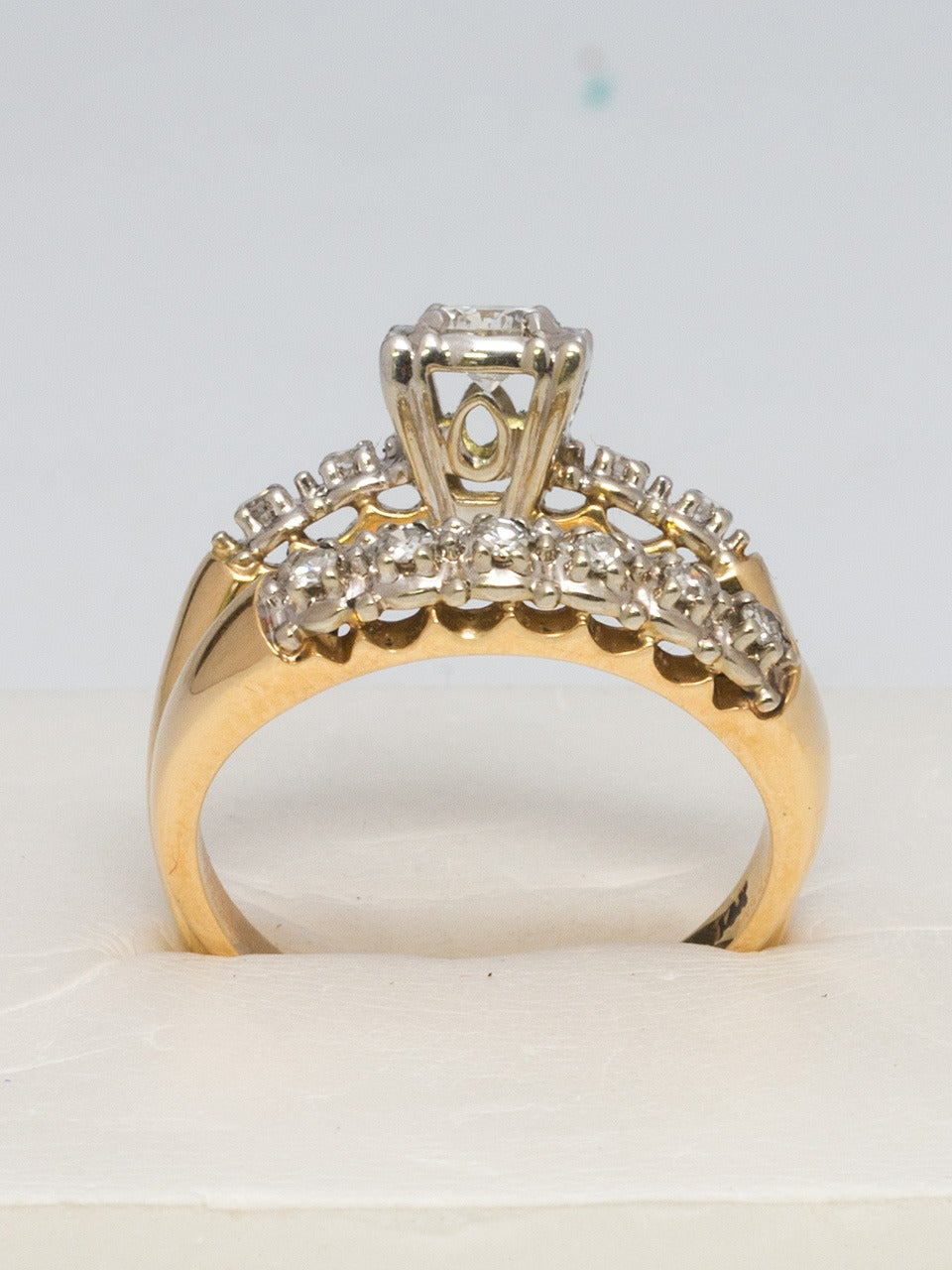 1950s Yellow Gold And Diamond Wedding Ring Set For Sale At
