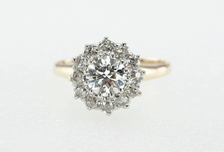 Antique Diamond Gold Platinum Cluster Ring For Sale At 1stdibs