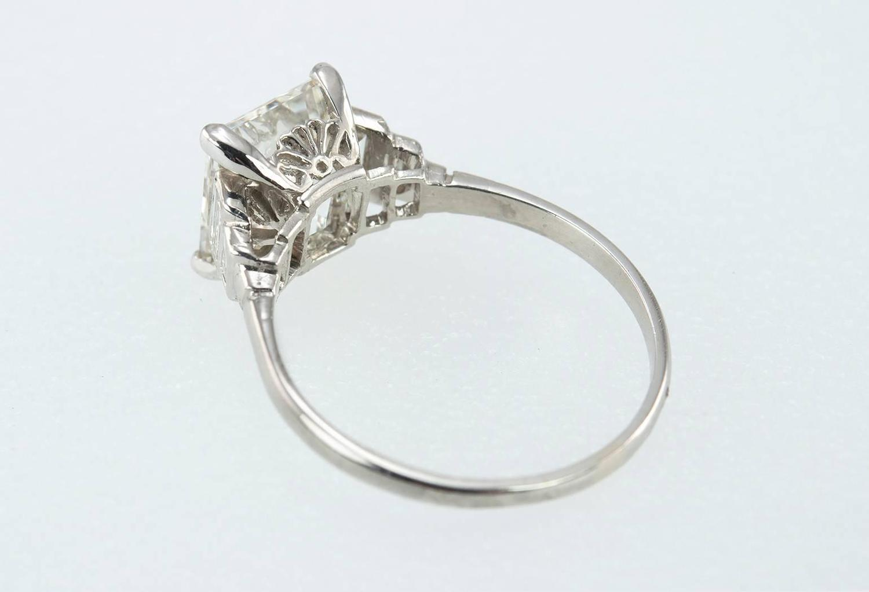 Art Deco 2 90 Carat Emerald Cut Diamond Engagement Ring