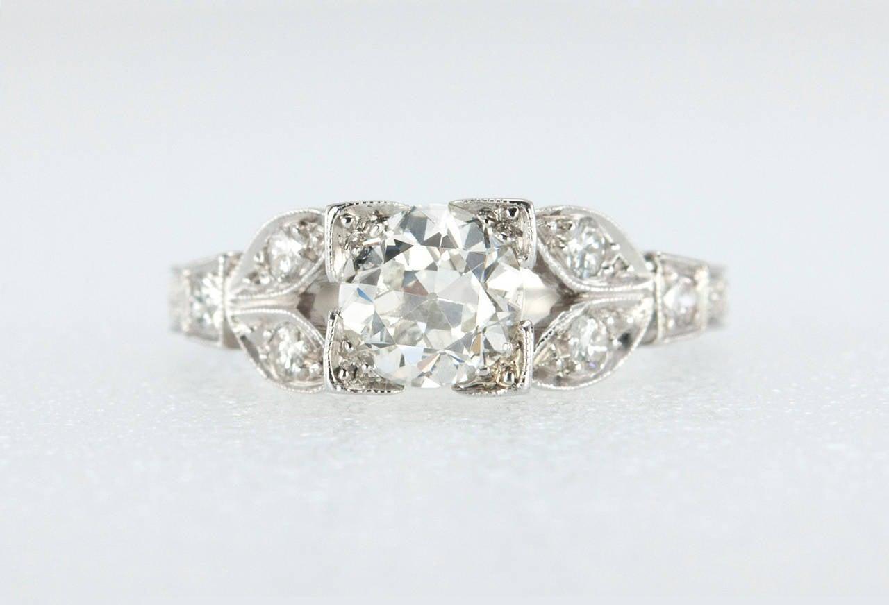 Old European Cut Diamond Platinum Engagement Ring For Sale