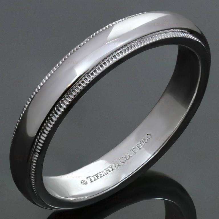 Tiffany And Co Platinum Milgrain Mens Wedding Band Ring