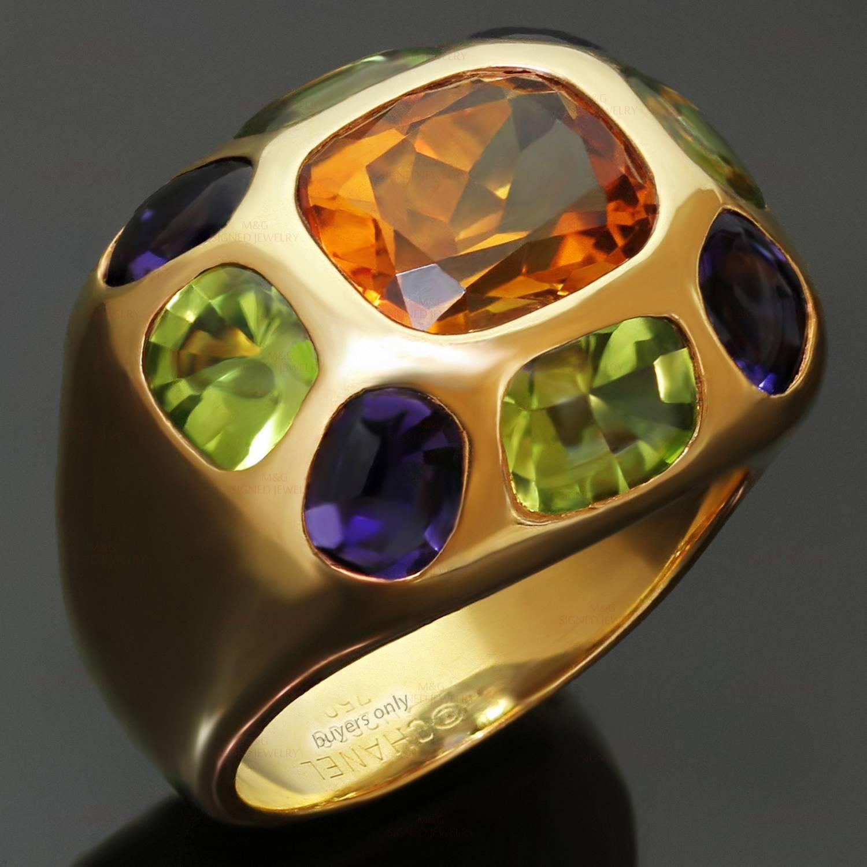 Chanel Coco Multi Color Gemstone Yellow Gold Dome Band