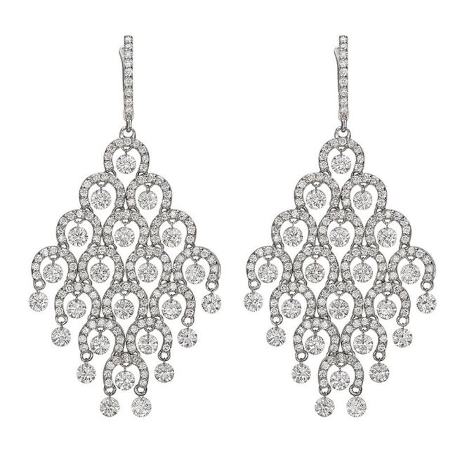 Diamond Gold Chandelier Earrings 1