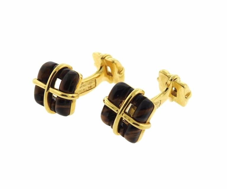 Tiffany And Co Gold Tigers Eye Cufflinks At 1stdibs