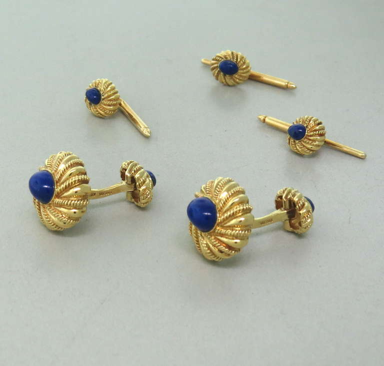 Tiffany And Co Jean Schlumberger Gold Lapis Cufflinks Stud