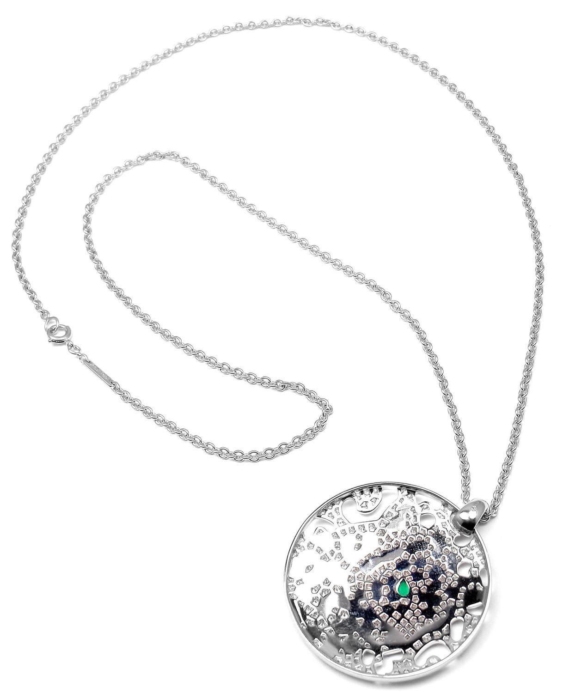 Cartier Panther Panthere Emerald Diamond Gold Pendant
