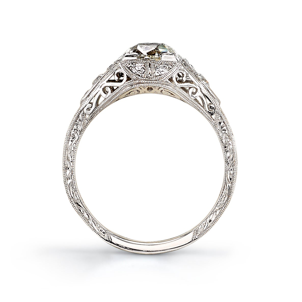 Vintage Cushion Cut Diamond Engagement Ring At 1stdibs