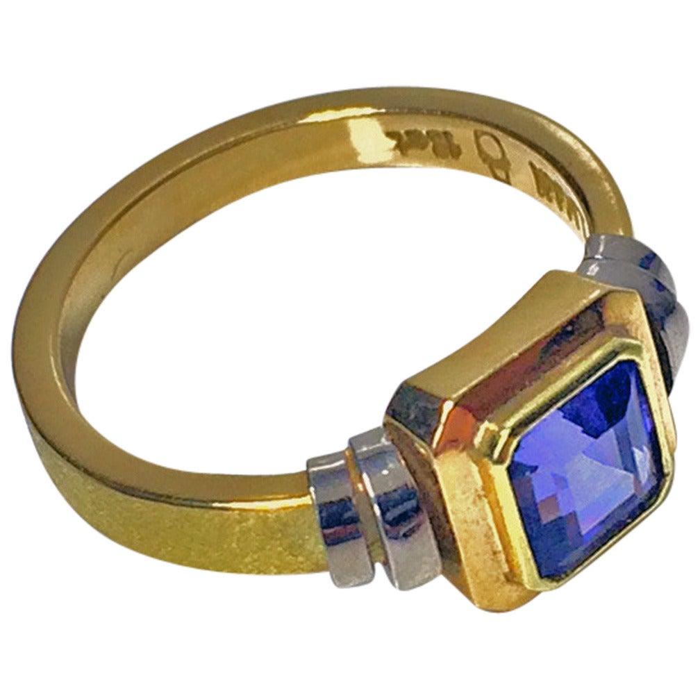Tanzanite Two Color Gold Ring At 1stdibs